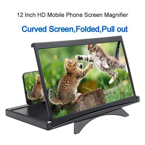 12 Inches Portable Mobile Phone Screen Magnifier 3D Video Eyes Protection Folding Curved Screen Display Amplifier Expander