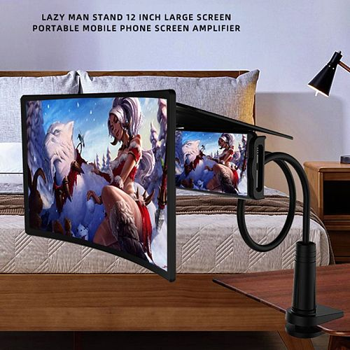 2020 New Universal 12 inch Mobile Phone Screen Amplifier Multifunction Desktop Bed Lazy Bracket Curved Screen Amplifier Holder