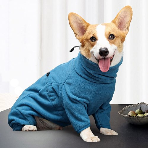 Fleece Dog Clothes Winter Thick Warm Dog Coat for Small Medium Large Dogs Adjustable Pet Hoodies Male/Female Overalls for Corgi