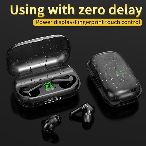 Bluetooth 5.0 Earphone HD Stereo Wireless Headphones with 2200mAh Charging Box TWS Mini  Noise Cancelling Gaming Headset