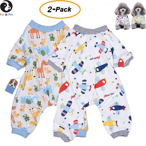 2-Pack Dog Clothes Soft Pajamas Cotton Puppy Rompers Pet Jumpsuits Cozy Bodysuits for Small Dogs and Cats