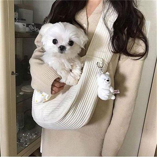 Handmade Pet Dog Puppy Kitten Carrier Outdoor Travel Handbag Canvas Single Shoulder Cat Bag Sling Comfort Tote Bag Breathable