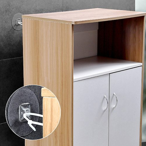 2pcs Punch-free Child Protection Fixture Cabinet Anti-falling Frame Anti-dropping Fixture Wall Tie Line Non-marking Strong Patch