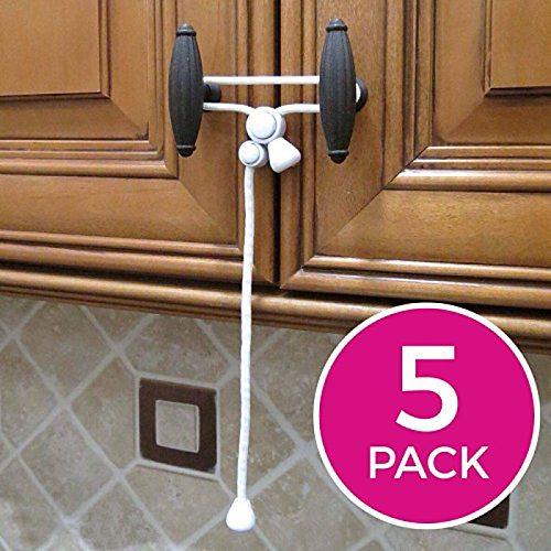 5pcs Kiscords Baby Safety Cabinet Locks Child Safety Cabinet Latches for Home Safety Strap Baby Proofing Cabinets Kitchen Door