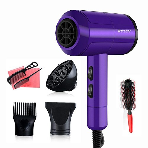 Powerful Professional Salon Hair Dryer Negative Ion Blow Dryer Electric Hairdryer Hot/Cold Wind With Air Collecting Nozzle D35