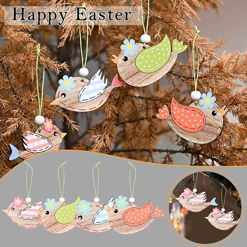 Happy Easter Decoration Wooden Easter Bunny Egg Rabbit Pendant Craft DIY Hanging Ornament Kids Gift Easter Decorations For Home