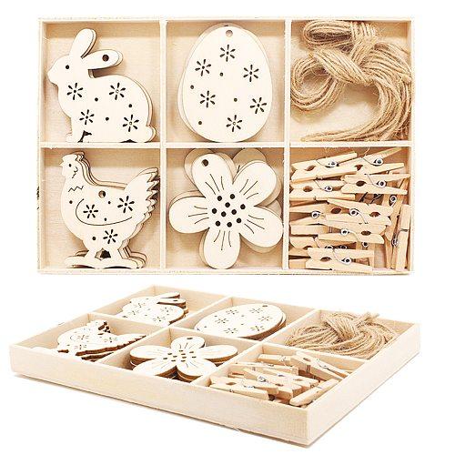 24pcs/set Creative Wooden Box Suit Party Easter Christmas Tree Children DIY Handmade Chips Props Pendant Home Decoration