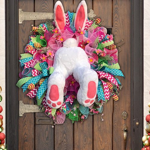 Easter Thief Bunny Butt Wreath With Easter Cross Garland Home Decor Spring Wedding Wreath Cartoon Bunny Shape Ornaments C18