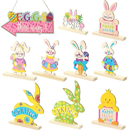 Easter Wooden Bunny Rabbit Ornaments Happy Easter Decorations For Home Easter Eggs Party DIY Craft Decor Pendant Kids Gift