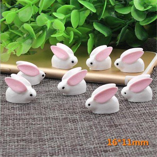 10 Pcs Lovely Miniature Mini Rabbit Resin Garden Fairy Ornament Flower Plant Pot Home Figurine Animal Decor Small pendulum