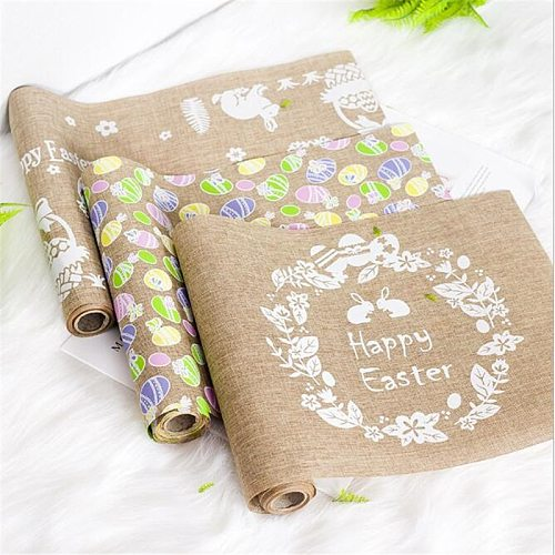 Easter Bunny Table Runner Easter Eggs Spring Tablecloth Cover Centerpiece Party Home Decoration Tableware Mat Pad