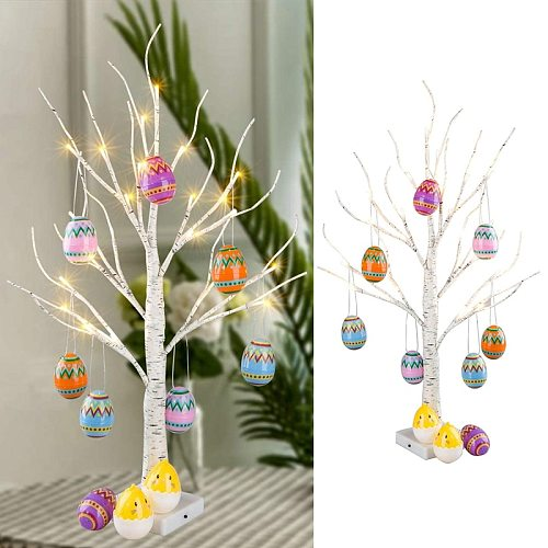Happy Easter Decor Led Birch Light Tree Easter Eggs Hanging Ornament Tree Event Party Supplies Easter Decorations For Home Table