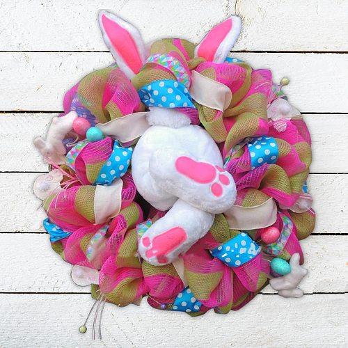 Funny Easter Bunny Butt Window Door Decoration Cute Cartoon Rabbit Animal Shaped Ornaments DIY Hanging Wreath Garland Home Decor