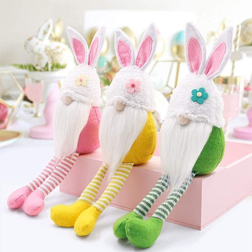 Easter Faceless Doll Rabbit Happy Easter Decorations For Home Bunny Easter Party Supplies Kids Gifts DIY Decor