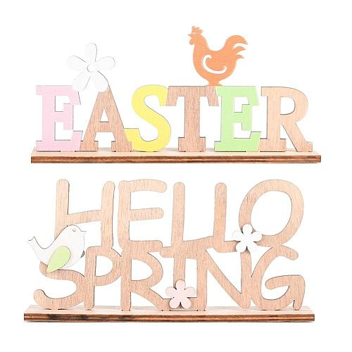 SPRING EASTER Letter Wooden Hanging Pendant Ornament Home Party Festival Decoration Supplies