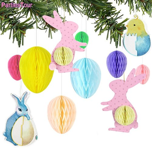 4/7X Easter Honeycomb Rabbits Set Home Decor Hanging Easter Decor Bunny egg chick Ornament Baby Shower Birthday Hanging Pendant
