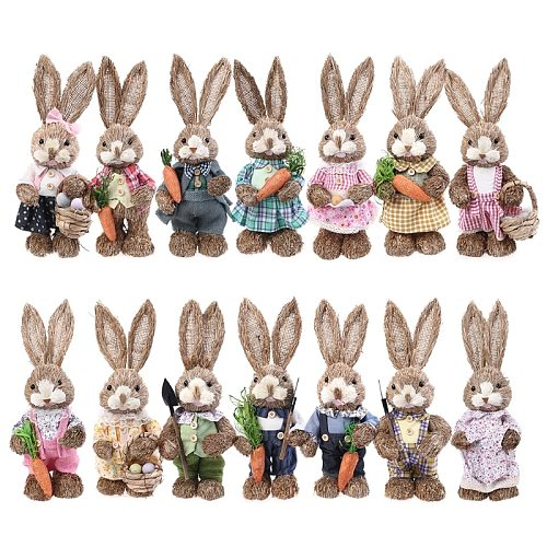 14 Styles Artificial Straw Cute Bunny Standing Rabbit with Carrot Home Garden Decoration Easter Theme Party Supplies