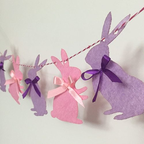 New Arrival Cute Easter Bunny Garland Children Favors Pink Purple Rabbits Cloth Banner For Happy Birthday Party Home Decoration