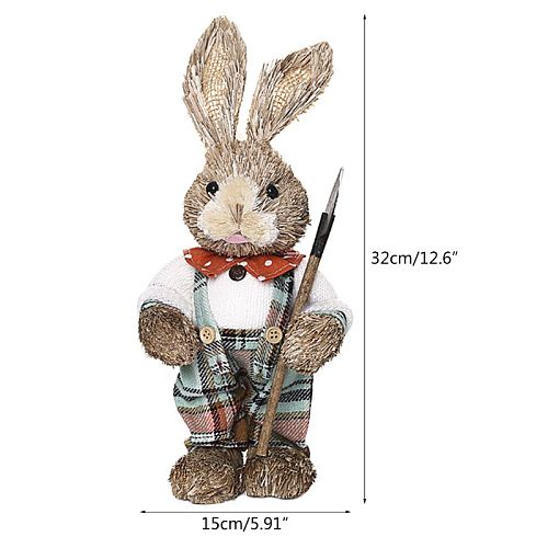 Cute Straw Rabbit Bunny Easter Decorations Holiday Home Garden Wedding Ornament E5BB
