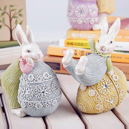 Easter Cute Rabbit Decorations Resin Bunny Miniature Figurines Easter Eggs Home Decor Garden Animal Statues Everyday Collection