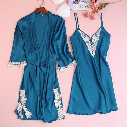 2PCS Nighty Bathrobe Gown Sets Satin Lace Womens Kimono Robe Nightgown Sleep Suit Spring New Sleepwear Casual Home Nightwear