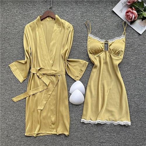 2PC Kimono Robe Gown Set Lady Sexy Nighty Bathrobe Deep Suit V-Neck Nightgown Spring Casual Satin Sleepwear Lace Trim Home Dress