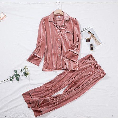 Pink Velour Shirt Pants Sleepwear Set Women 2PCS Pajama Suit Autumn Winter Long Sleeve Robe Nightwear Bride Wedding Gown M-XL
