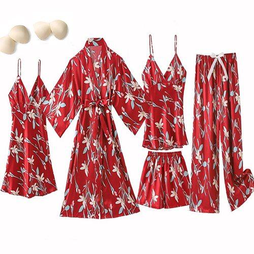 5PCS Silky Satin Pajamas Sleep Suit Lady Sexy Strap Top&pants Nightwear Casual Print Sleepwear Spring New Home Pyjamas Sets