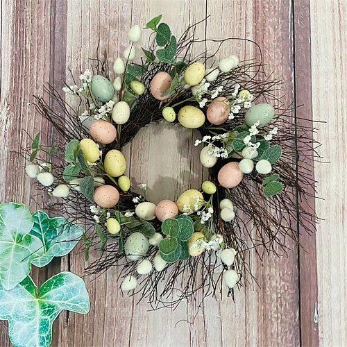 Easter Rattan Wreath Easter Eggs Garland Wall Hanging Natural Rattan Wreath Easter Party Crafts Egg Decor Spring Wedding Wreath