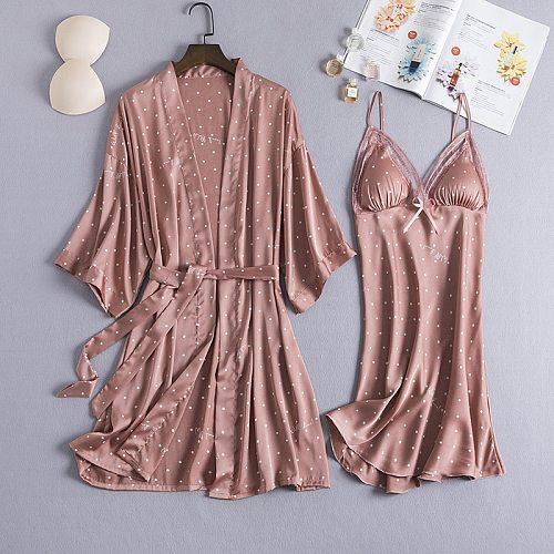 Pyjama Gown Set Women Sleep Suit 2PCS Nightshirts V-Neck Pajamas Silky Sleepwear Spring Nighty Robe Wear Home Negligee Homewear