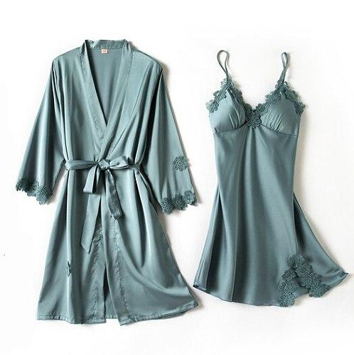 Pyjama Gown Set Women 2 PCS Nightshirts V-Neck Pajamas Silky Print Sleepwear Spring Sleep Robe Wear Home Suit Negligee Homewear