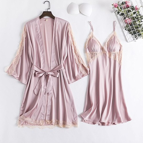 Spring New 2PCS Nighty Robe Gown Sets Sexy Womens Satin Bathrobe Nighty Dress Lace Hollow Out Sleepwear Nightgown Sleep Suit