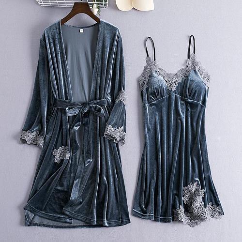 Gray Women 2PCS Pajama Suit Autumn Velour Lace Sexy Sleepwear Set Floral Nightwear Bride Wedding Kimono Robe Gown Lingerie M-XXL