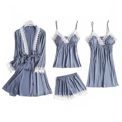 Gray 4PC Pajamas Strap Sets Womens Lace Top Pants Sleepwear Suit Spring Autumn Home Wear Nightwear Sexy Faux Silk Robe Bath Gown