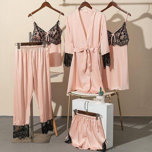 5PCS Pajamas Set Satin Lace Women Nightwear Sleep Suit Sexy Strap Top&Pants Sleepwear With Chest Pads Bride Pyjamas Homewear