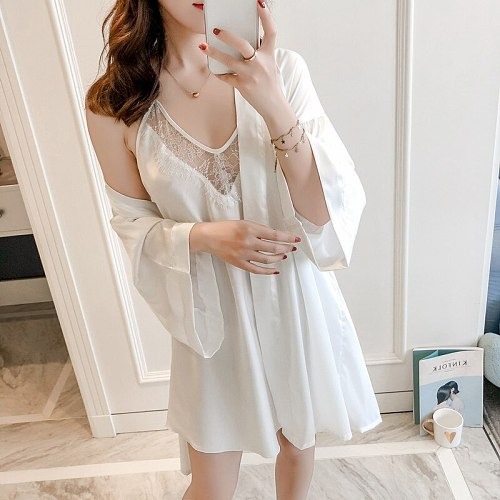 White Kimono Robe Gown Suit Sexy Women V-Neck Backless Nightdress Lace Trim Intimate Lingerie Summer Autumn Faux Silk Sleepwear