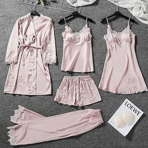 Women 5PCS Satin Pajamas Set Sexy V-Neck Strap Top&Pant Sleepwear Lace Flower Trim Nightwear Autumn Home Clothes With Belt