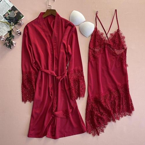 2PCS Lace Robe Gown Sets Sexy Bathrobe Hollow Out Nightgown Kimono Sleep Suit Summer Womens Satin Nighty Sleepwear Nightdress