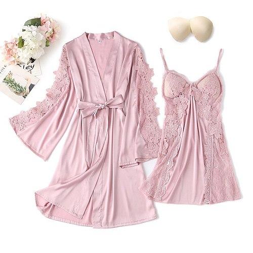 2PCS Lace Flower Robe Gown Set Sexy Women Satin Nighty Bathrobe Strap Nightgown Sleep Suit Summer Bride Wedding Kimono Sleepwear