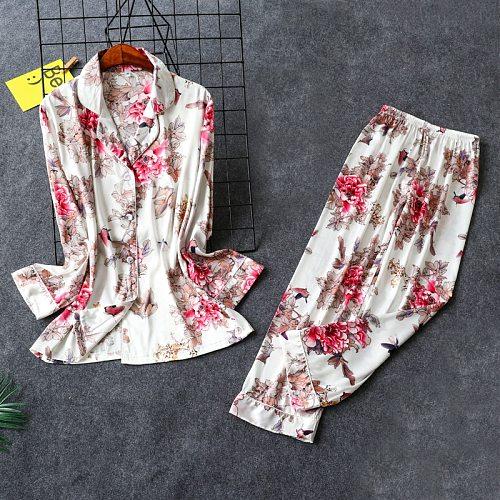 New Womens Home Wear Nightwear Shirt Pants Suit Pajamas Sleepwear Sets Sexy Spring Robe Bath Gown Bathrobe Nightgown M-XL