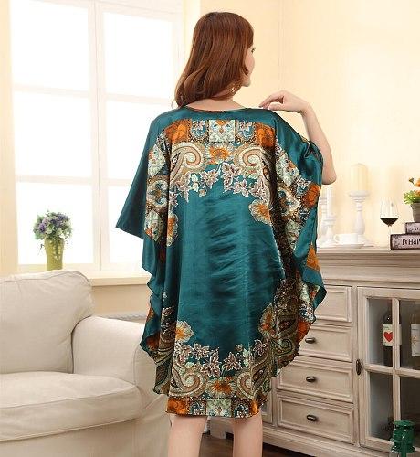 Hot Sale Fashion Lady Summer Robe Chinese Women's Faux Silk Bath Gown Yukata Nightgown Nuisette Pijama Mujer One Size Xsz622J