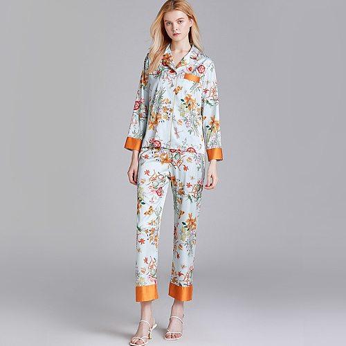 Pajamas Suit V-Neck Shirt Pants 2PC Sleep Set Women Sexy Lounge Nightwear Pijamas Robe Nighties Print Sleepshirt Home Clothes