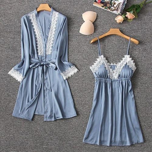 Gray Womens Pajamas Suit Kimono Sleep Gown Sleepwear 2pcs Robe Set Sexy Strap Top Nightwear Clothes Spring Home Dressing Dress