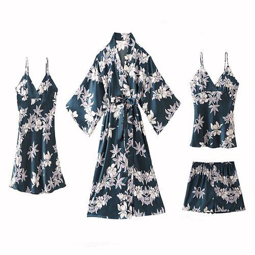 Print Pyjamas Sleep Suit Silky Satin Womens 4PCS Pajamas Sets Sexy Strap Top&pants Nightwear Casual Spring New Home Sleepwear