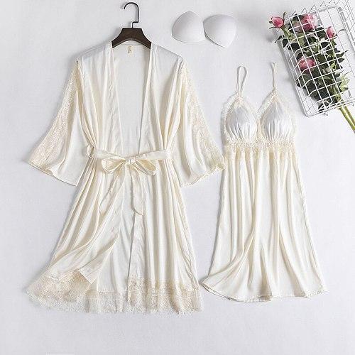 Bride 2PCS Lace Bathrobe Gown Sets Sexy Nighty Robe Nightgown Womens Silky Satin Komono Strap Dress Sleepwear Sleep Suit