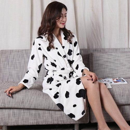 Fashion Winter Women's Mini Kimono Robe Autumn Lady Flannel Bath Gown Yukata Nightgown Sleepwear Sleepshirts One Size