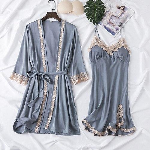 2PCS Pajamas Sleep Set Womens V-Neck Cami Pijama Sexy Bathrobe Kimono Nighty Robe Gown Suit Spring Sleepwear Wear Home Clothes