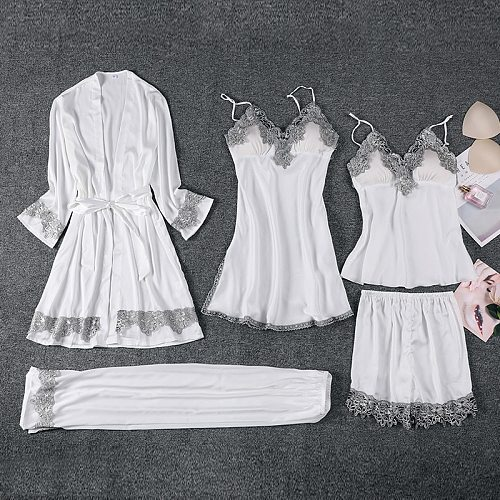 Female 5PCS Pajamas Suit Sexy V-Neck Strap Top&Pant Sleepwear Autumn Chiffon Pijama White Sweet Lace Trim Nightwear With Belt