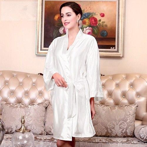 Plus Size Red Women's Kimono Bath Robe Gown Female Faux Silk Yukata Sleepwear Nightgown Sleepshirts Mujer Pijama Ftg01