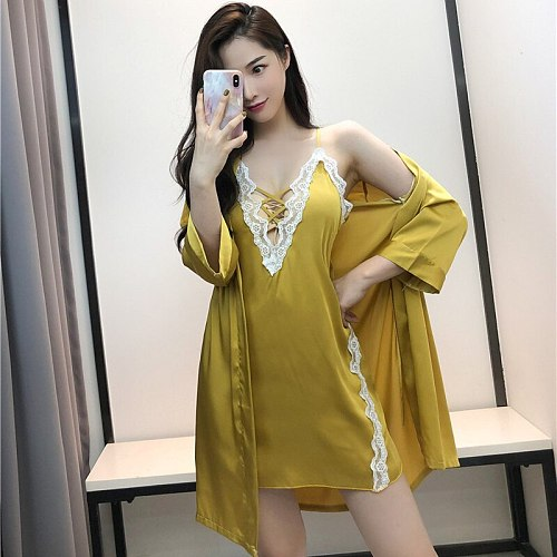 2 Pcs Satin Lace Nighty Robe Sleep Suit Womens Strap Dress Sleepwear Sexy Spring Bathrobe Gown Sets Casual Lounge Nightgown
